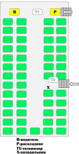 Схема автобуса 52 места